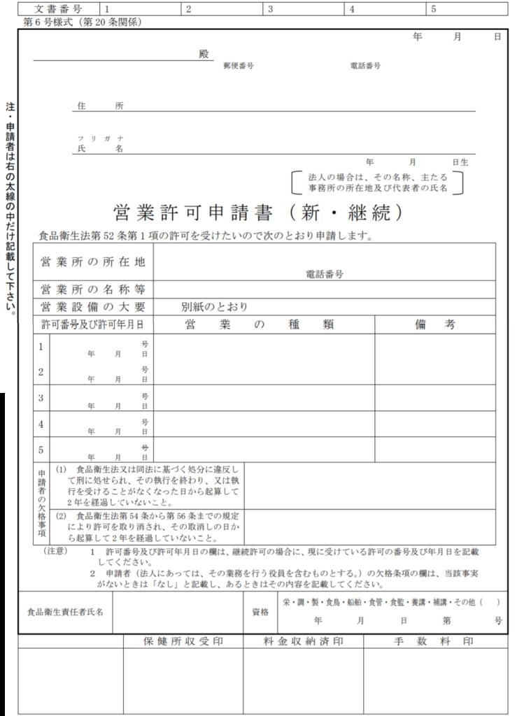 営業許可申請書の見本
